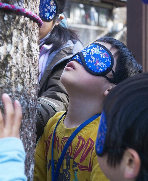 目隠しをして、木に触れる子供
